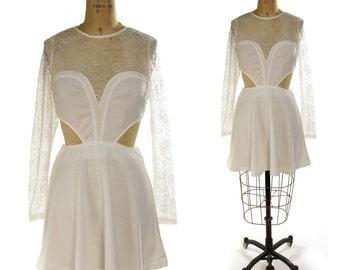 90s Cutout and Lace Bandage Dress / Vintage 1990s Club Kid / Raver / Rocker / Fit & Flare Bondage Dress in White /