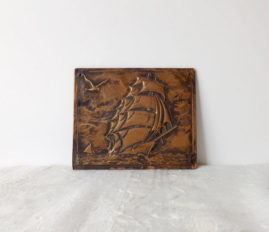 Vintage copper ship plaque retro metal art relief seascape for Retro wall art
