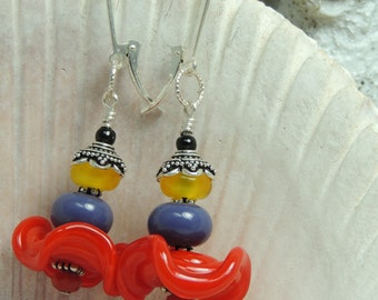 HOT FLASHING Handmade Lampwork Bead Dangle Earrings