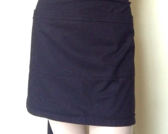 Women's Server Apron Waitress Apron Solid Black, Mid-Length- Made to Order. Many colors available
