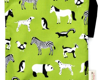 Medium 11 x 14 Wet bag / Swim / Diapers / Gym / Lime Zoo Menagerie Fabric /  SEALED SEAMS and Snap Strap