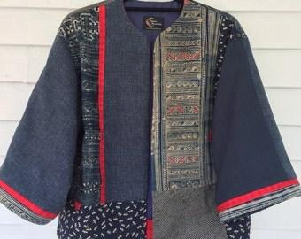 Antique Asian Indigo Fabrics in a Contemporary Kimono Jacket