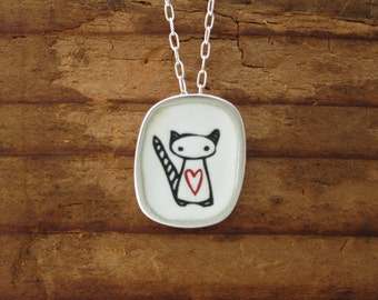 Space Cat Necklace - Vitreous Enamel and Sterling Silver Cat Necklace