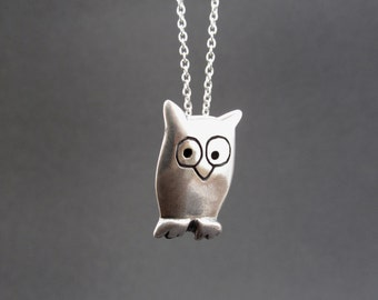 Sterling Owl Necklace - Silver Owl Pendant