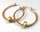 Hammered Copper Hoop Earrings Rustic Jewelry Vintage Brass Beads Handmade Hinged Hoops Minimalist 1 Inch Small Hoops Mixed Metal Jewelry