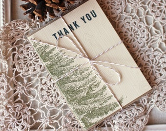 Vintage Pine Thank You Notes set of 20