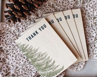 Vintage Pine Thank You Notes set of five