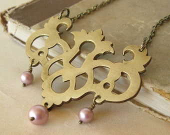 Antique brass Keyhole Necklace With Rose Swarovski pearls