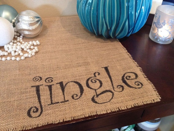 Jingle burlap centerpiece table mat for holiday dining or Christmas entry table decoration