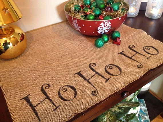 Ho Ho Ho burlap centerpiece mat for a holiday table or Santa Claus themed Christmas decorating