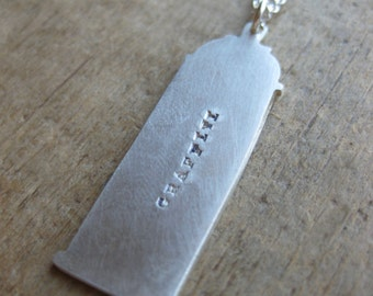 GRAFFITI stamped SPRAYPAINT sterling silver necklace