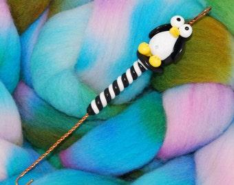 Penguin Spinning Wheel Orifice Hook - Polymer Clay