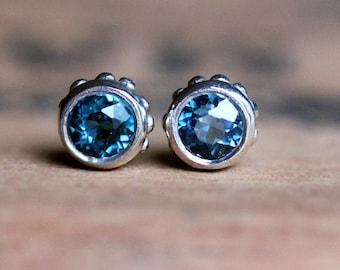 London blue topaz stud earrings, bezel stud earrings, December birthstone earrings, silver stud earrings gift for wife ready to ship wrought