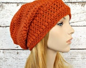 Orange Womens Hat - Penelope Puff Stitch Slouchy Beanie Pumpkin Orange Crochet Hat - Orange Hat Womens Accessories Fall Fashion Winter Hat