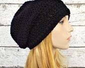 Black Womens Hat - Penelope Puff Stitch Slouchy Beanie Black Crochet Hat - Black Beanie Black Hat Womens Accessories Fall Fashion Winter Hat