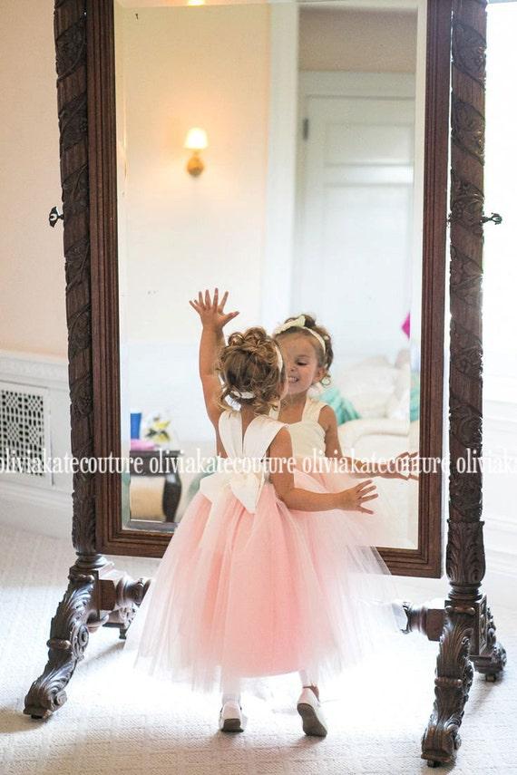 Blush Peach Flower Girl Dress