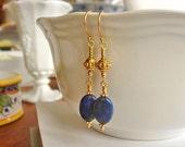 Gold Vermeil Earrings, Gold Earrings, Dangle Earrings, Beaded Earrings, Lapis Earrings, Gemstone Earringsue Earrings,