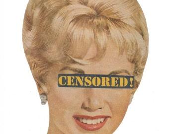 Retro Wall Art, Magazine Collage, Original Collage Art on Paper, Humorous Artwork, Funny Bathroom Decor, Fun Powder Room Art, Censored