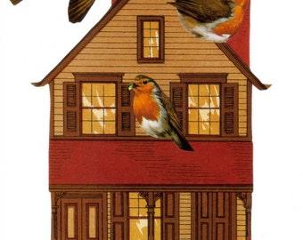 Bird Decor, Home Sweet Home, New Home Housewarming Gift, Home Decor, Bird House, Birdhouse, Original Collage Art