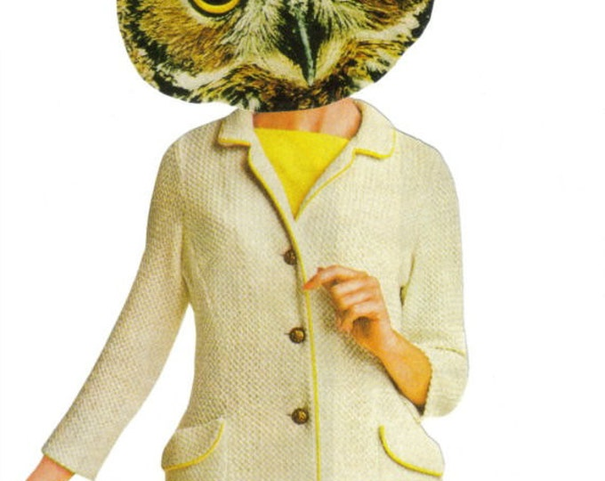 Anthropomorphic Owl Art Collage, Original Owl Artwork