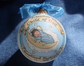 Baby Boy Baptism, Child of God, Baby in the Moon Keepsake Ornament, Handpainted, Personalized, and totally Original, WITH Display Stand