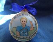Football Player Christmas Ornament  Original Handpainted Personalized Ornament