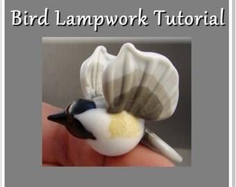 Sculptural Birds Lampwork Glass Bead Tutorial -chickadee cardinal bluebird Instant Download