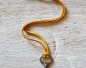 Skeleton Key On Yellow Deerskin Lace Cord - Vintage Skeleton Key Necklace - OOAK Womens Key Necklace