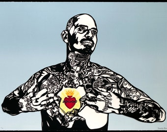 Sacred Heart Silkscreen Serigraph Tattoo