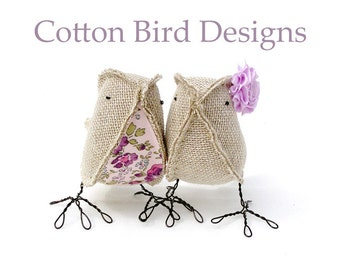 Burlap Cake Topper Liberty of London Print Woodland Wedding by Cotton Bird Designsmade to order check processing times
