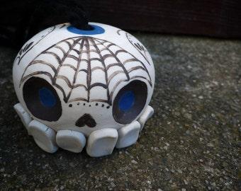 Hand-thrown porcelain sugar skull hanging planter