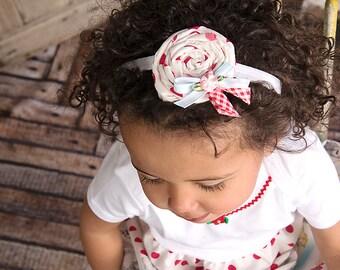 Red Polka Dot Headband Infant Cherry Toddler Shabby Cottage Easter M2M