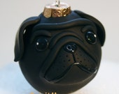 Black Pug Wrinkle Dog Round Tree Ornament Dog Breed Art