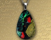 Fused Dichroic Glass Pendant, Large Silver Bail Dichroic Pendant, Dichroic Fused Glass Jewelry - Artistic Expression - LB180