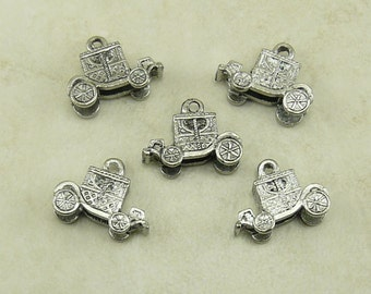 5 Royal Carriage Charms > Fairy Tale Cinderella Princess Ball Prince  - Lead Free Silver Pewter American Made - I ship Internationally