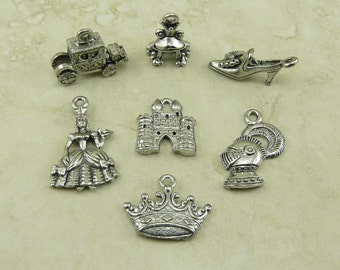 7 Fairy Tale Charms Mix > Cinderella Prince Castle Knight Slipper Crown Magical - Raw Lead Free Pewter American Made I ship Internationally