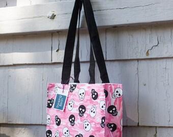 cotton handbag with skulls, tote, tote bag, tote bag with skulls, pink bag