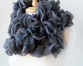 Women's Scarf, Gift for Her, Women's Fashion Accessories, Ruffle Scarf in Charcoal Gray