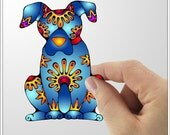 Blue Dog Vinyl Decal Wall Sticker Art - small - little