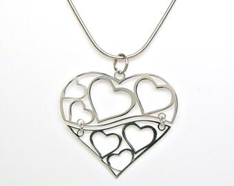 Sterling Silver Swinging Hinged Hearts in Heart Charm Pendant Customize no. 2118