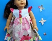 Doll Dress Pattern for American Girl - flutter sleeve dress or top - PDF Sewing Pattern for 18 inch doll