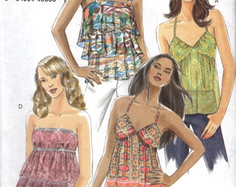 Vogue 8250 MODERN STRAPLESS or HALTER Tops with Flounces