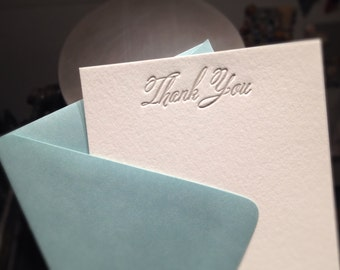 Note Cards - LETTERPRESS - Petite Thank You No. 5 - Set of 24 by Invited Ink