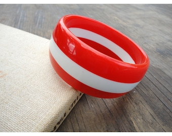 Red and White Striped Bracelet