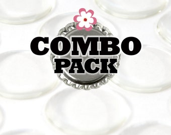 Combo Pack 1 Inch Clear Resin Stickers and 100 Bottle Caps, your choice of bottle caps. Glamour Dots. 100 Pack Bottlecaps and epoxy dots.