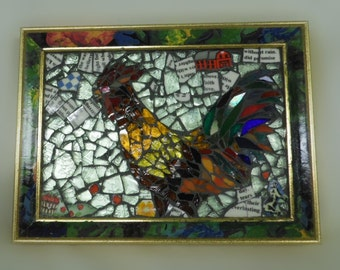 rooster chicken farm animal broken china and glass mixed media mosaic original stained glass  broken china easel back  portrait