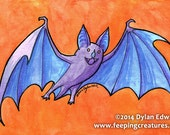 Purple Leaf Nosed Vampire Bat - Feeping Creatures monster gouache painting