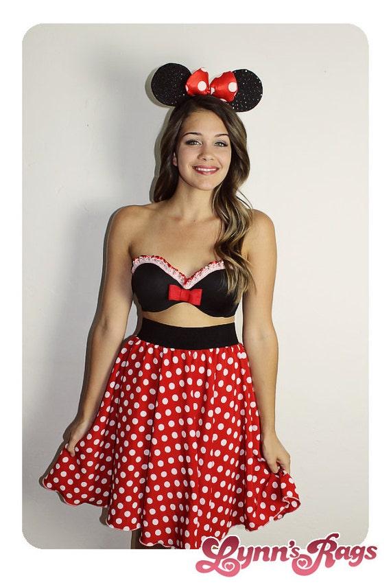 minnie mouse skirt handmade disney white polka by
