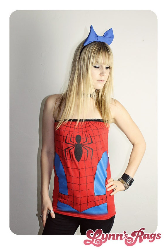 spiderman tube top handmade shirt diy reconstruction marvel. Black Bedroom Furniture Sets. Home Design Ideas