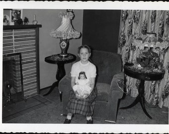 vintage photo Little Girl Sits in Chair holding Madame ALexander Doll Snapshot 1940
